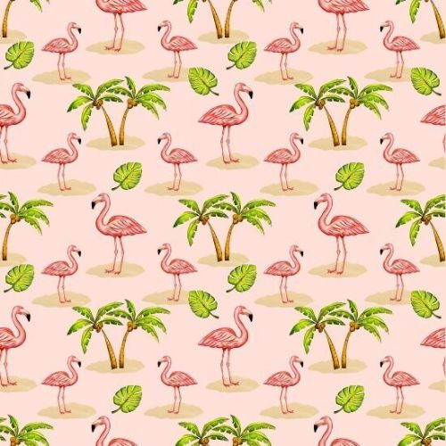 Blank Quilting 'Pink Lady' 8488-22 pink 100% cotton Flamingos-PalmTrees